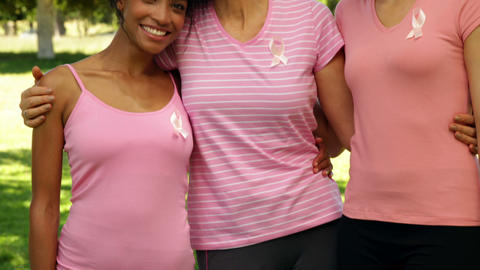 Smiling women wearing pink for breast cancer awareness in the park Footage