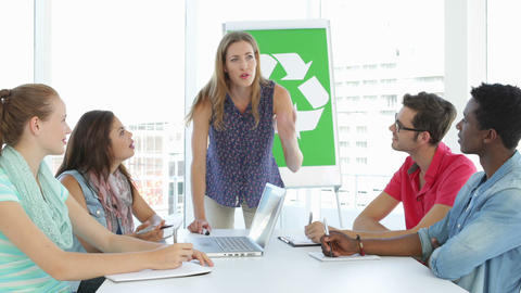 Woman meeting with team about environmental awareness Stock Video Footage