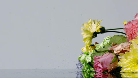 Bouquet of colourful flowers falling onto wet surface Stock Video Footage