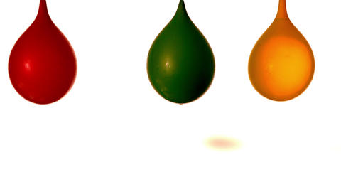 Arrow shooting through water balloons on white background Stock Video Footage
