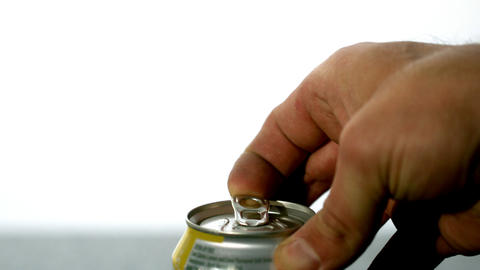 Hand opening a soda can Stock Video Footage