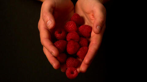 Woman spilling raspberries from her hands Footage