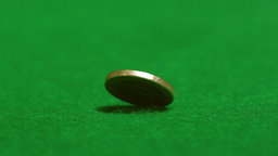 Euro coin spinning on casino table Footage