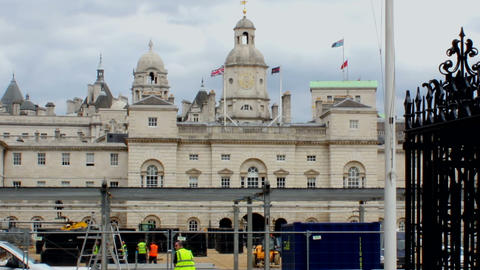 Construction work in front of Horse Guards Parade Footage