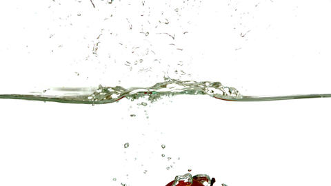 Red apple plunging into water on white background Footage