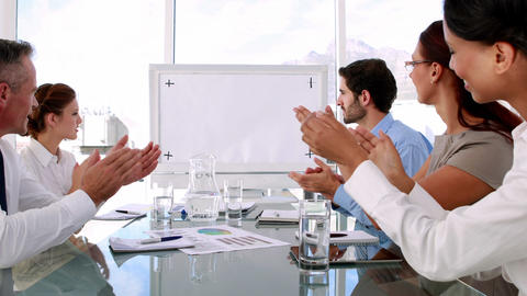 Business team applauding a copy space Footage