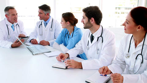 Medical team talking during a meeting Footage