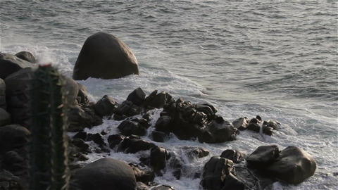 Rocky Shore in the Pacific in Oaxaca Mexico 3 Footage