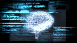 Revolving Brain Graphic With Interface Animation stock footage