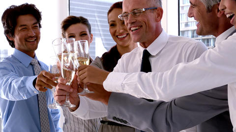 Business people toasting with champagne Footage