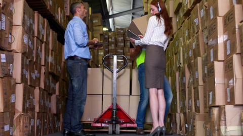 Warehouse Workers And Manager Talking By Palette stock footage
