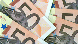 fifty euro banknotes with zoom Footage