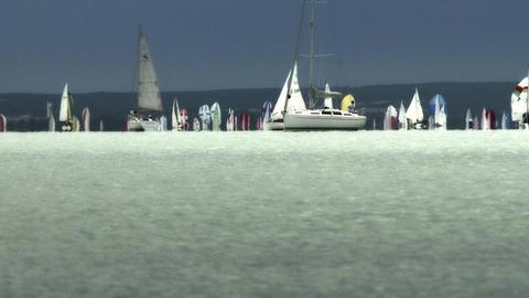 Blue Ribbon Sailing Boat Race in Lake Balaton Hung Footage