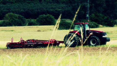 Ploughing Tractor 7 Stylized stock footage