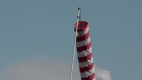 Striped Red White Wind Sock 1 stock footage