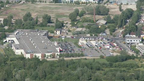 Suburban Tesco Supermarket Aerial View stock footage