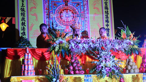 Monks and the faithful ceremony in traditional festival, Asia Live Action