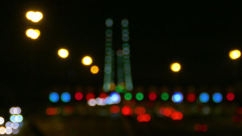 Defocused Night Traffic Lights Footage