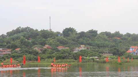 Asian people boating head dragon boat on the river, Asia Live Action