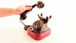 retro phone ringing on white Stock Video Footage