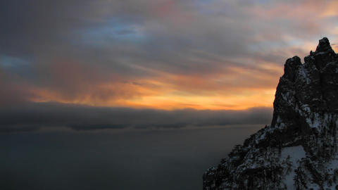 Sunset in the mountains dark time lapse Stock Video Footage