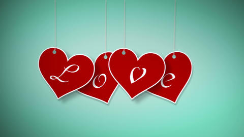 Valentine hanging labels Stock Video Footage