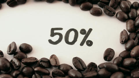 percentage. written on white under coffee Live Action