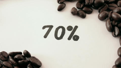 percentage. written on white under coffee Stock Video Footage