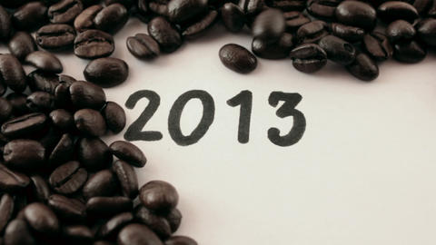 new year. written on white under coffee Stock Video Footage
