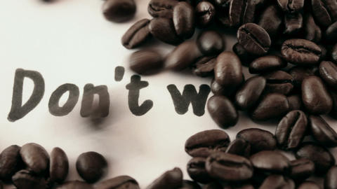 do not worry. written on white under coffee Stock Video Footage