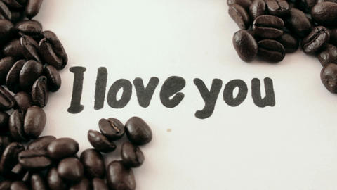 I love you. written on white under coffee Footage