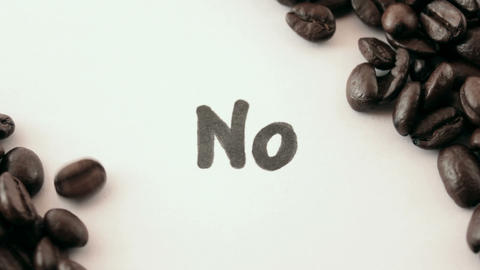 No. written on white under coffee Footage