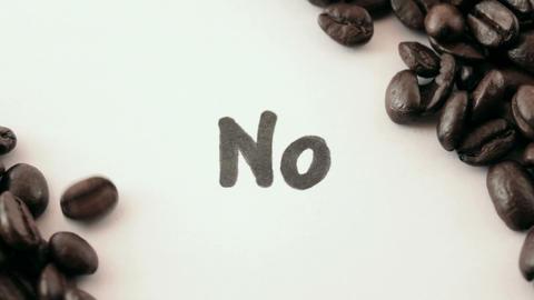 No. written on white under coffee Stock Video Footage