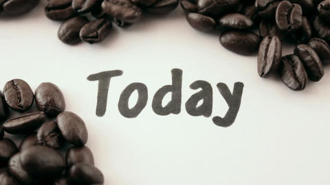 today. written on white under coffee Stock Video Footage