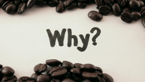 why. written on white under coffee Stock Video Footage
