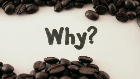 why. written on white under coffee Footage