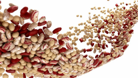 Haricot beans flow with slow motion Animation