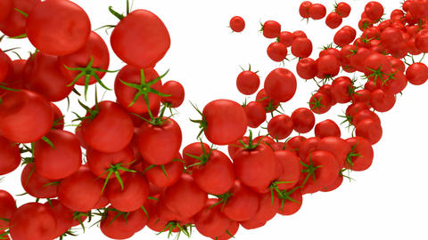 Tomatoes Cherry flow with slow motion Animation