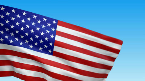 Seamless loop waving USA flag Animation