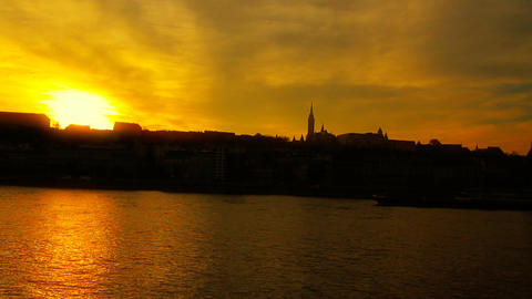 Mistic Sunset in Town ARTCOLORED 02 Stock Video Footage
