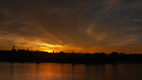 Mistic Sunset in Town ARTCOLORED 07 Stock Video Footage