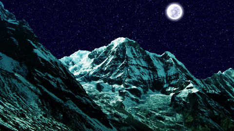 Night Sky Mountains 01 Animation