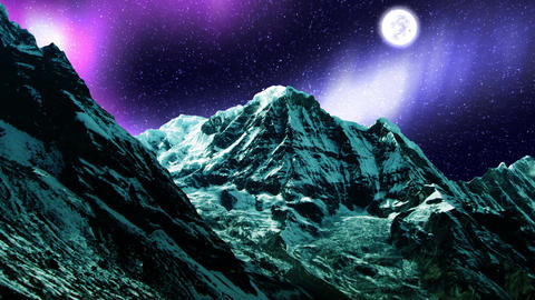 Night Sky Mountains 05 Animation