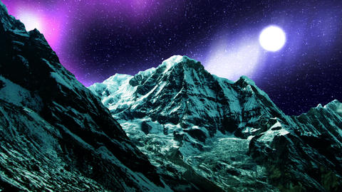 Night Sky Mountains 07 Animation