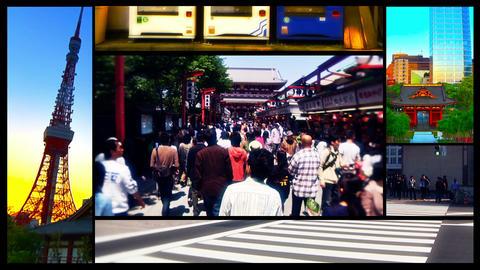 Tokyo Street Splitscreen 02 Stock Video Footage