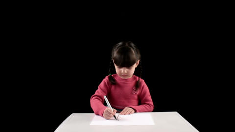 Drawing girl on black background Stock Video Footage