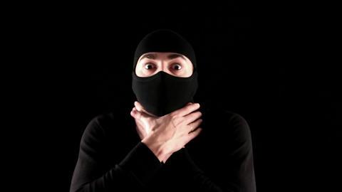 ninja dies on black background Stock Video Footage