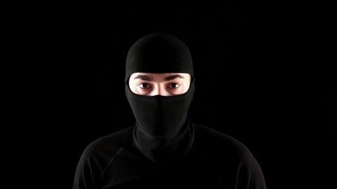 ninja do not know black background Stock Video Footage