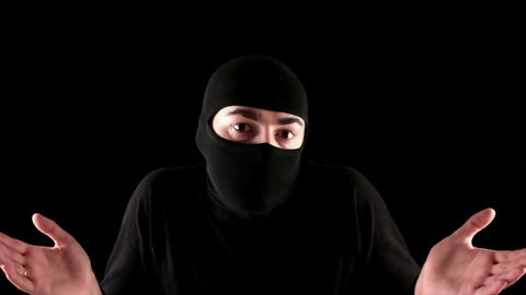ninja do not know black background Stock Video Footage