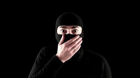 ninja surprised on black background Footage